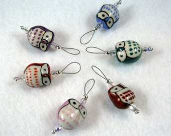 Owl Stitch Markers - Multi-Colored - US 10 - Item No. 961