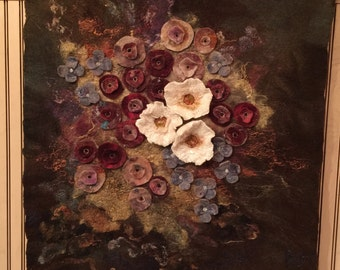 No.19 Floral Study One - Wet felted wall hanging