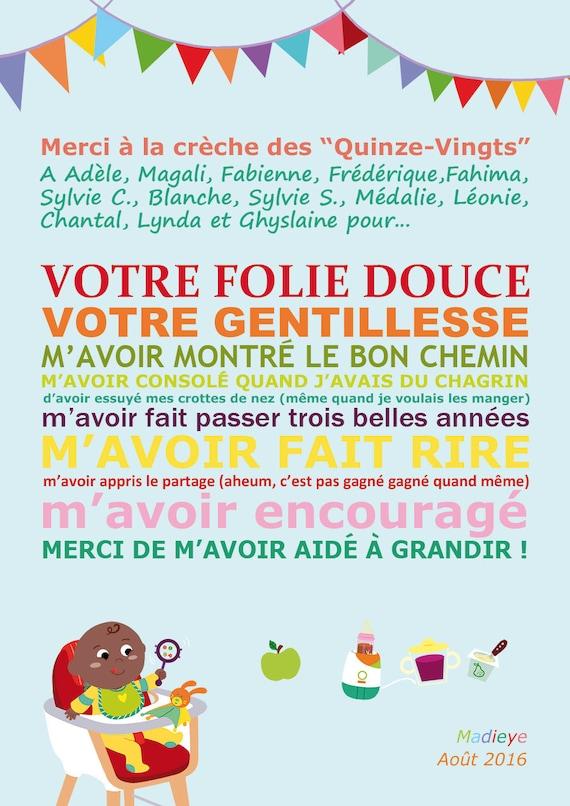 Extrêmement Affiche Merci Nounou ou crèche cadeau AA97