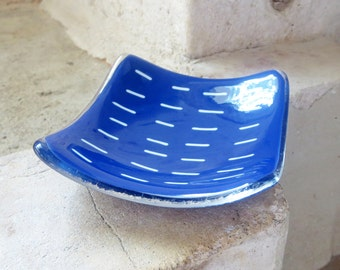 Small Blue Dish, Square Fused Glass Nibbles or Trinket Dish, Blue and Cream Modern Design