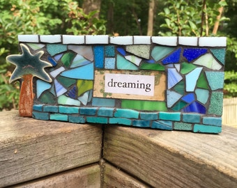 Dreaming Mixed Media Mosaic Art Desk or Wall Hanging Collage