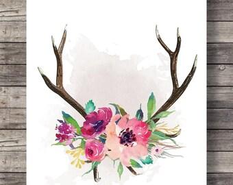 Watercolor Antlers, flowers print, Printable art, art print, deer stag antlers, Fall Autumn, Printable, Antlers, watercolor flowers wall art