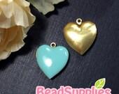 CH-EX-08055ER - Nickel Free, Heart-shaped locket, erinite, 2pcs