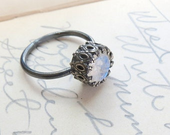 SALE Unique Rainbow Moonstone Engagement Let them Eat Cake Ring Oxidized Sterling Silver SIze 5 US ready to ship