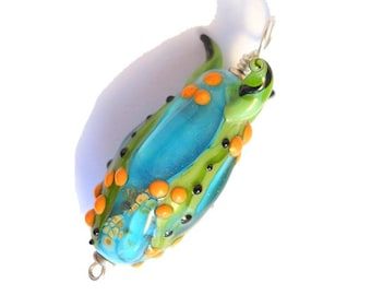 Pod glass necklace, aqua focal bead pendant, lampwork glass bead, organic glass bead, orphan bead SRAJD, glassbead