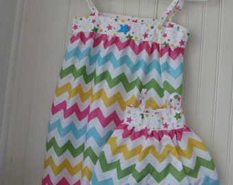 """18"""" Doll Dress With Matching Chevron Size 3 Girl Dress Ready to Ship"""