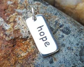 Hope Word Charm Sterling Silver Necklace