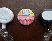 Fabric Covered Button for Clip on Retractable Badge Reel - Easter eggs