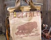 Buffalo Alfalfa Seed - RARE -  Americana Vintage Seed Feed Sack Book Tote W- OOAK Canvas & Leather Tote .. Selina Vaughan