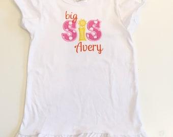 Sunshine Themed Big Sis Shirt- Personalized Sibling Party Shirt