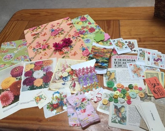 Inspiration kit in Spring colors for scrapbooking, collage art, and altered art