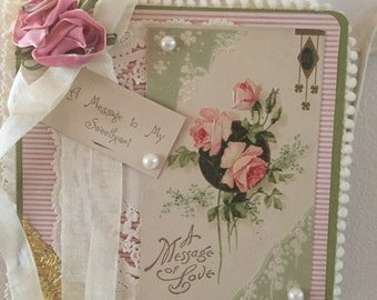 Hanging Shabby chic Valentine accent card