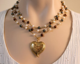 Heart Necklace,Multi Color,Three Strand Pearl Necklace,Valentine's Day,Pearl Necklace,Mother's Day