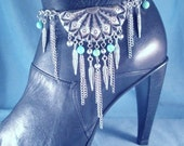 Turquoise Concho BOOT Chains Boot Jewelry Boot Bracelet Boot Bling Western Feathers Strap Biker Motorcycle Lady Rider