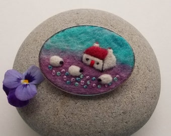 Felt Sheep Brooch Pin with Red Roofed Cottage