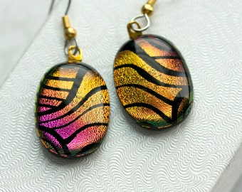 Earrings Pink and Copper Drop Dangle Dichroic Fused Glass Earrings Jewelry E-0124