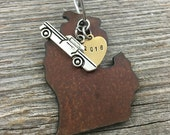 MICHIGAN | Rustic 2016 Christmas Ornament | Car, Pickup, or Fishing Boat Charms, Handstamped Brass Tag