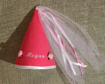 Personalized Princess Hat in Pink with Pink Satin Ribbon Flowers and Satin Ribbon Trim, Customized