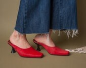 easy feeling red pony hair mules / sculpted heel mules / low heel slides / 7.5 / 568s