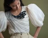 OLEG CASSINI beaded balloon slv blouse / white silk chiffon blouse / poet puff sleeve blouse / s / 1652t / R5