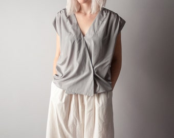 on the border silver metallic wrap blouse / boxy top / s / 1296t