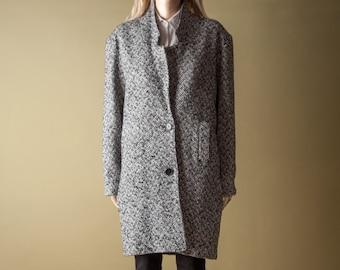 blazer style tweed coat / wool coat / vintage car coat / m / 879o