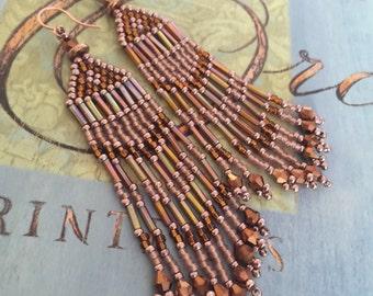 Super Long Seed Bead Earrings Beaded Copper Metallic Fringe Earrings