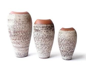 SUMMER SALE West German Vase Trio  Rare 1950s Sawa