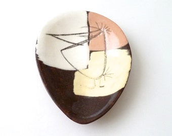 Modernist Ceramic Small Trinket Dish by Edmund Ronaky  Worry Birds