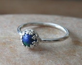 Animal Charity NBHA, Azurite Malachite Stacking Ring 6 mm Sterling Silver Ring Princess Crown Ring, Size 2 -15, Womens Jewelry Gift for Her