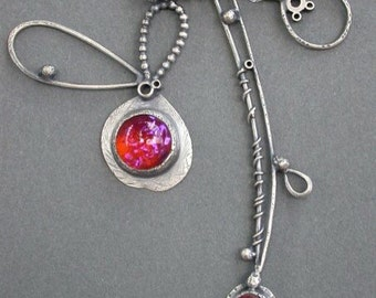 red raspberry pink berry fushcia burghundy oxidized sterling silver charm necklace pendants vintage velour