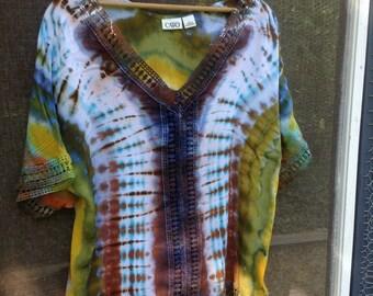 Size L Tie Dye Top Upcycled Shirt Cotton Dashiki Style Dye