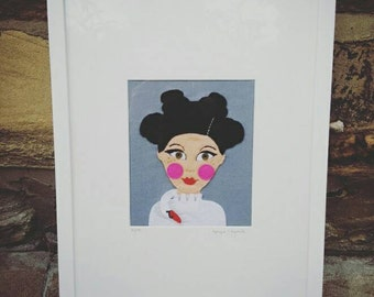 Bjork limited edition textile picture in felt with freeform hand embroidery