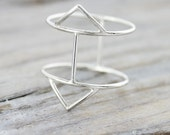 Double triangle ring in sterling silver - chevron silver ring