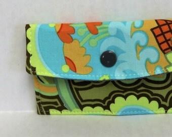 Mini Wallet - Gift Card Holder - Debit Credit Card Case -  Business Card Case  - Snap Closure - Flower Floral Belle Fabric