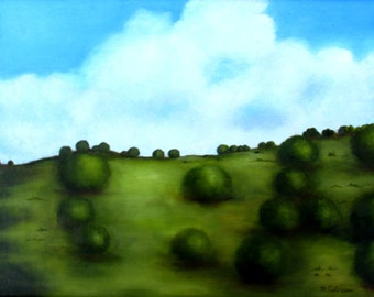 "Original Oil Painting Landscape Impressionism Hill Top Mexico 11"" x 14"" Stretched Canvas Framed Ready to Hang Wood Frame Blue Sky Clouds"