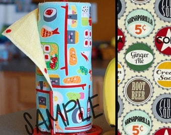 Tree Saver Towels - Soda Pop Caps - Reusable, Eco-Friendly, Snapping Paper Towel Set - Cotton and Terry Cloth