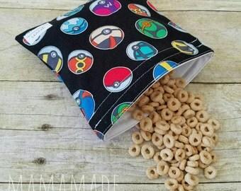 Pokeball - Medium Reusable Sandwich Bag from green by mamamade