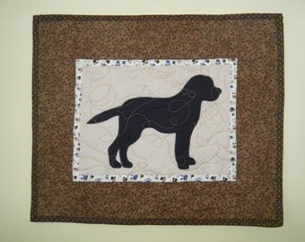 SALE--- Black Lab - Quilted Mini Dog Wall Hanging 19 x 16