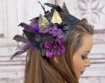 Gypsy Headpiece, Purple, Black and Gold, Mucha, Boho Headband, Tribal Dance, Woodland Headband, Feather Headpiece, Elven, Fairy, Bellydance