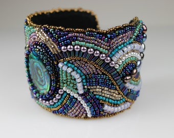 Embroidered Cuff Bracelet - Paua Shell Beaded Beadwoven Turquoise Ochre & Gold Large Chunky Bold Statement Couture Bracelet Gift for Her