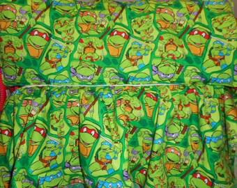 MadieBs Set of  Ninja Turtle  Bumper Pads and Matching Crib Skirt