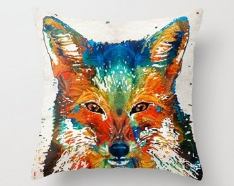 Throw Pillow Colorful Fox Art COVER Design Home Sofa Bed Chair Couch Decor Fun Red Happy Artsy Living Room Bedroom Zoo Nursery Cute Animal