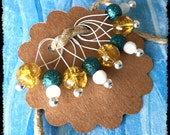 Snag Free Stitch Markers Medium Set of 8 - Yellow Teal and White Glass - M65 -- For up to size US 11 (8mm) Knitting Needles