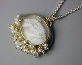 Plume Agate Necklace in 18k Gold and Silver with Pearl Fringe