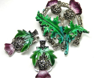 SJK Vintage -- Scottish Thistle Brooch and Matching Clip On Earrings, Green Purple Enamel, Lucky Horseshoe, Marcasite (1950's-60's)