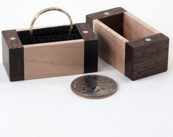 Ring Box, Reclaimed Walnut and Maple Wood
