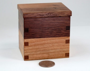 Small Lidded Box, Walnut, Cherry Hardwoods
