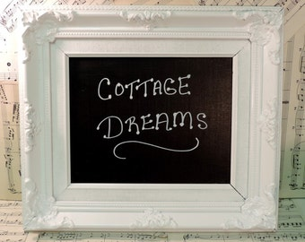 French Country Upcycled Chalkboard, Cottage Chic Decor, Office Decor