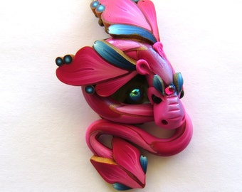 Pink and Blue Dragon Necklace, Fairy Rider, Miniature Polymer Clay Dragon Pendant